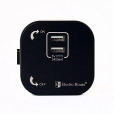 Розетка трековая двойная USB  Pandora Black (Черный) 2,4 А