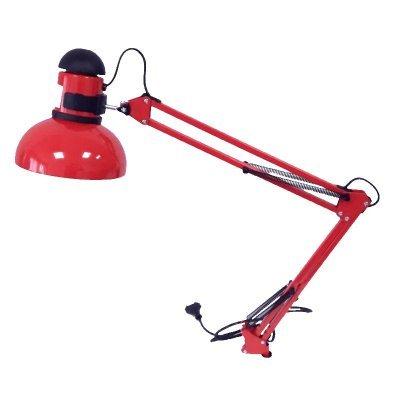 Красная настольная лампа на струбцине