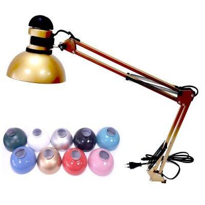 Настольная лампа для маникюра на струбцине с выключателем на плафоне