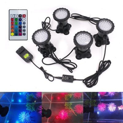 Подводные светильники для пруда и аквариума RGB 4х36 LED с пультом