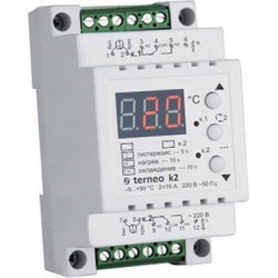 Терморегулятор двухканальный, двухрежимный (нагрев / охлаждение) на DIN-рейк terneo k2
